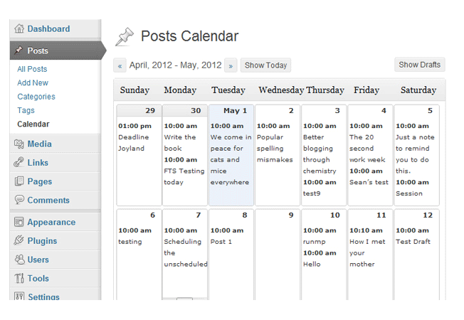 Blog post calendar and scheduling
