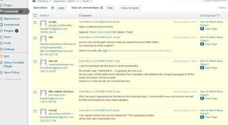 Blog comments made by spammers