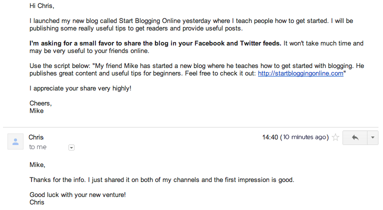 E-mail about your new blog