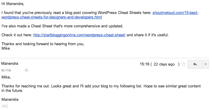 Here's my e-mail outreach