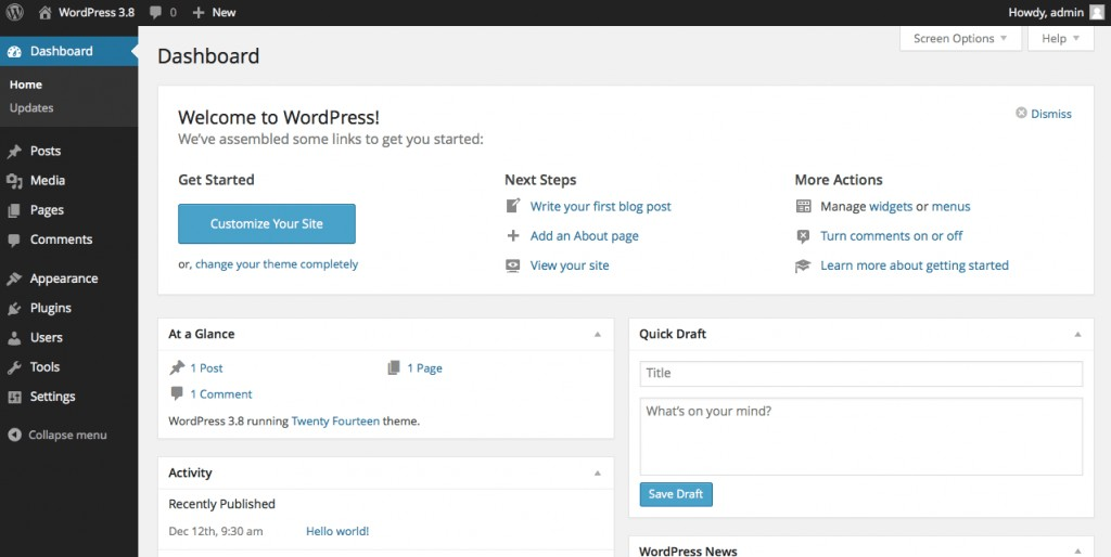 Free WordPress.com back end dashboard