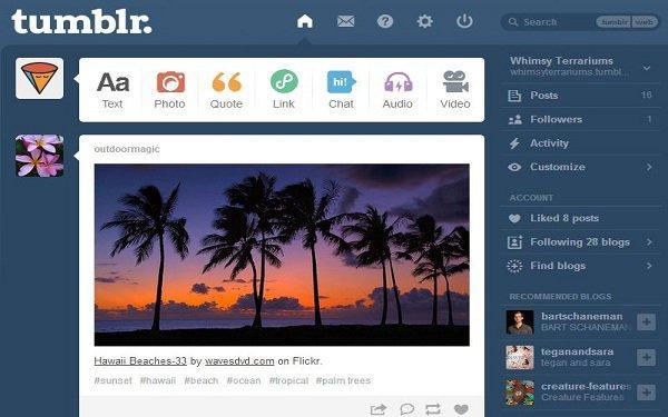 Tumblr.com admin dashboard