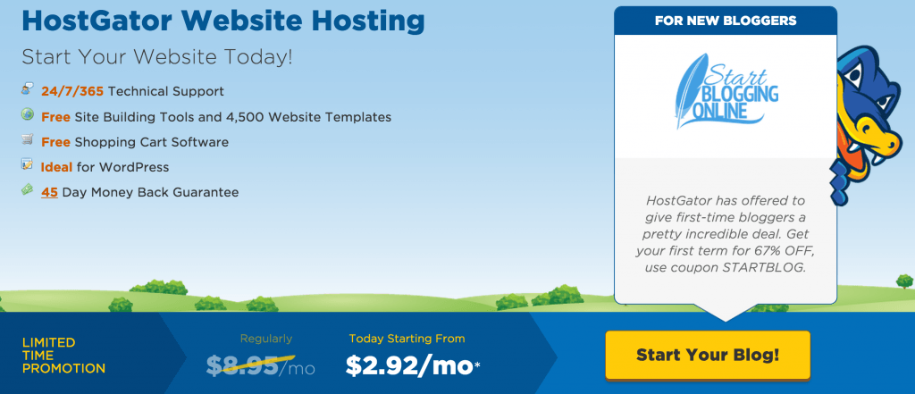 HostGator Blog Hosting homepage