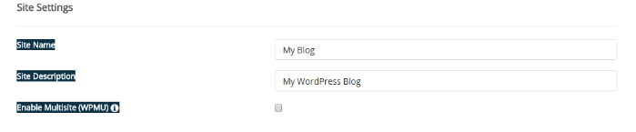 Enter WordPress site name and description