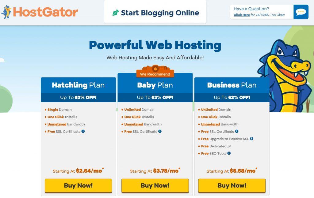 HostGator 62% off review special