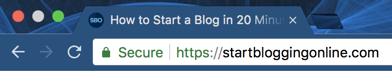 SSL green padlock for starbloggingonline.com