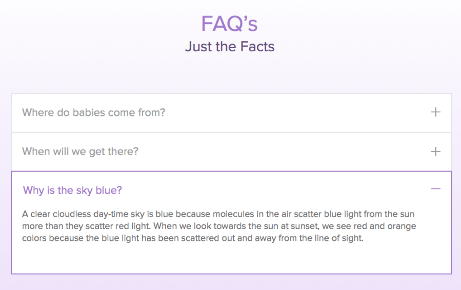FAQ page example