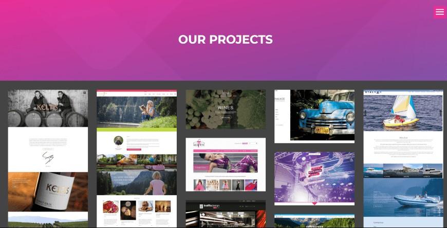 website pages list - portfolio pages