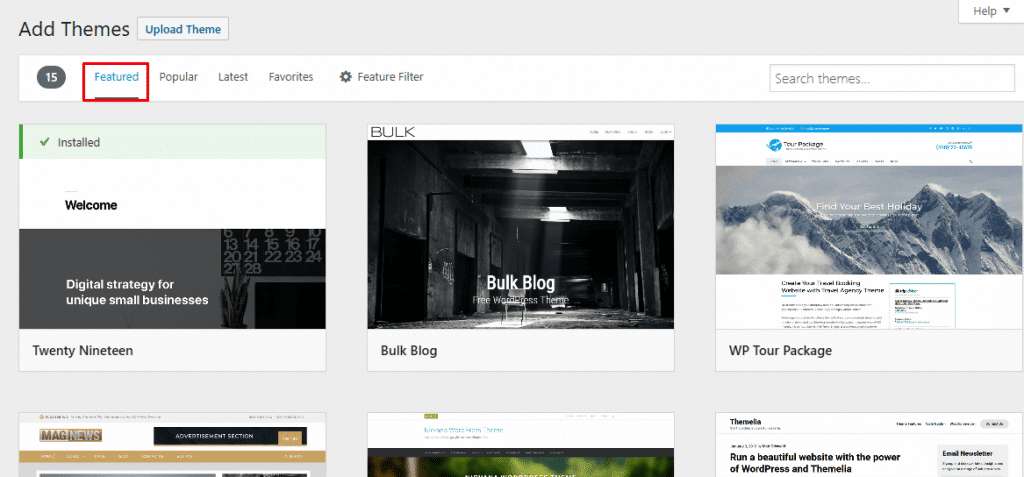 All WordPress featured themes