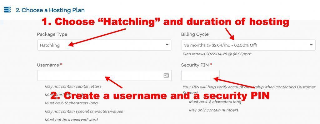 HostGator signup step 2
