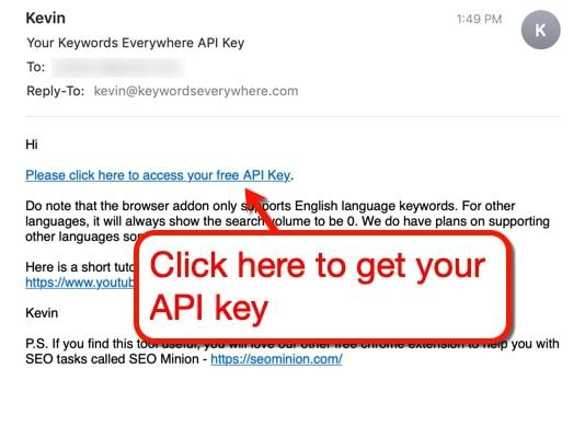 Keywords Everywhere API key