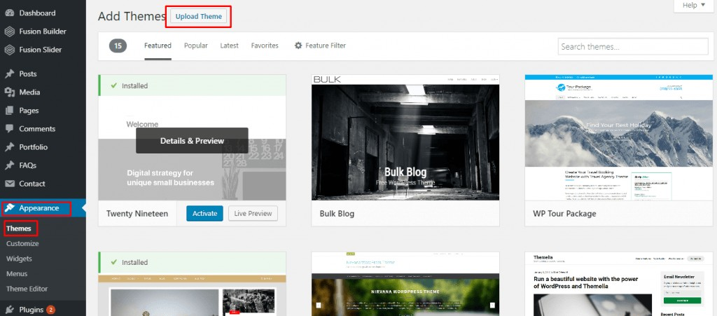 How to install a wordpress theme from a zip file