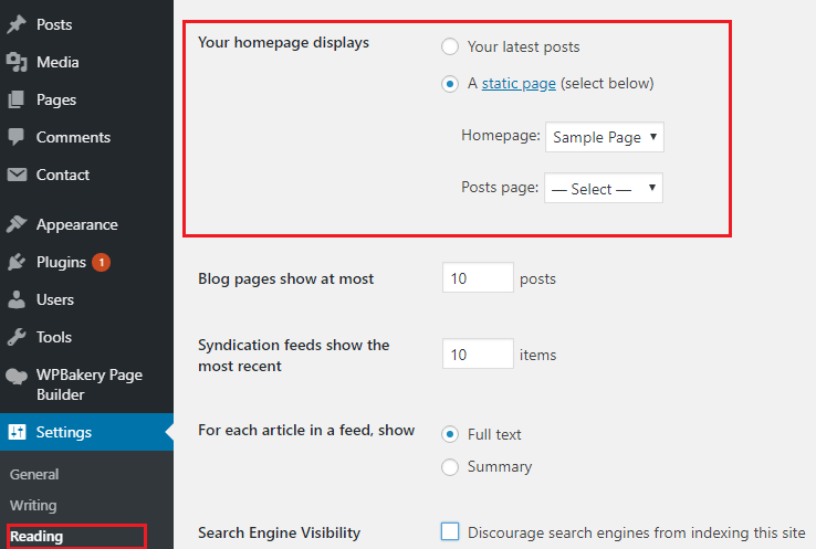wordpress-homepage-displays