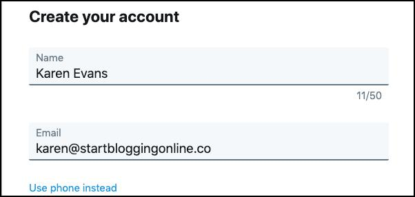 Create Twitter account step 1