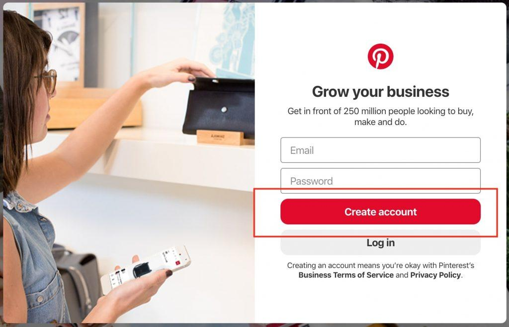 Entering details into Pinterest