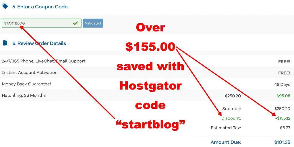 "HostGator coupon discount ""startblog"""