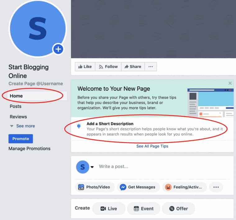 How to create a Facebook blog page description