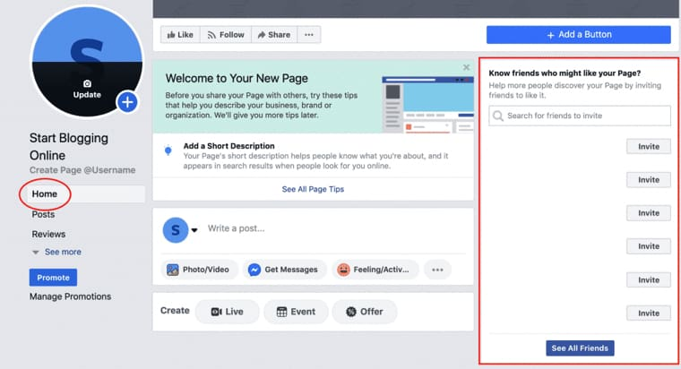 Invite people to like your Facebook blog page