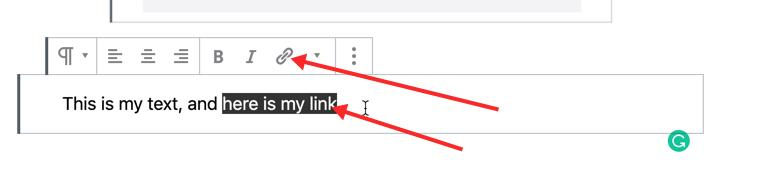How to add a link in a WordPress blog post
