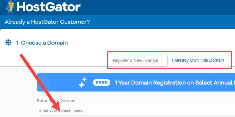 HostGator free promotional domain