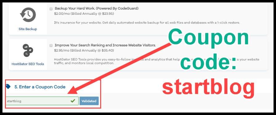 "HostGator promo code ""startblog"""