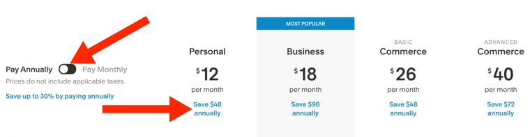 Squarespace pricing annual rates