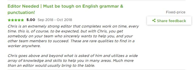 Good feedback from creative freelance writer jobs
